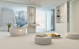picture of stool  - Modern Design Bathroom interior with unusual shaped bathtub - JPG