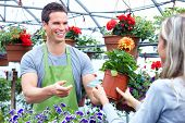 stock photo of flower shop  - Young smiling seller florist working in flower shop - JPG