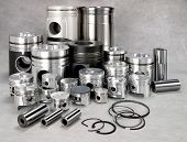 stock photo of piston-rod  - a set of metal pistons - JPG