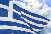 3D Rendering Of Greece Flag Waving On Blue Sky Background poster