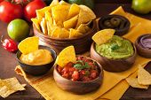 mexican nachos with guacamole, salsa and cheese dip poster