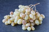 Bunch Of Grapes On The Wooden Floor, Grape Bunch Of Pictures In Different Concepts.natural Grape Clu poster