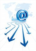 e-mail icon, blue arrow,global communication