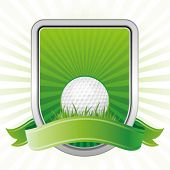 Golf, escudo, fundo verde