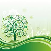 environment icon and tree,green flow background