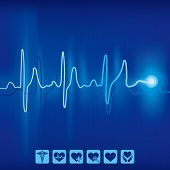 heartbeat ekg pulse tracing on blue background,medical and health icon