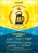 Oktoberfest Beer Festival Celebration. Typography Poster Or Flyer Template For Beer Party. Vintage B poster