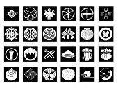 Abstract icons set #7. Isolated, black against white background