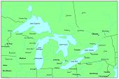 Sea maps series: Great Lakes