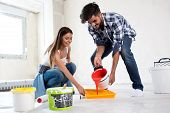 Lovely Smiling Couple Painting New Home,new House Renovation poster