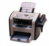 O moderno aparelho multiuso: um fax, copiadora e scanner. É exatamente isolado sem sha