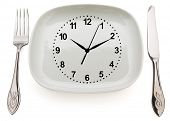 Dishware and clock. Concept restrictions in food