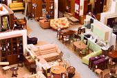 Furniture store: display of furniture and parts of modern interiors