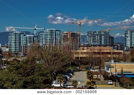 poster of New Construction Of High-rise Buildings In Richmond City, Industrial Construction Site, Construction