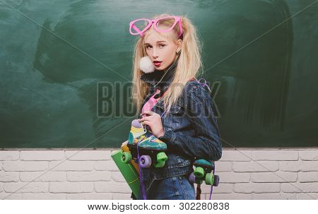 poster of School Fashion. Creative Teen. Fashionable Girl Creative Student Chalkboard Background. Back To Scho