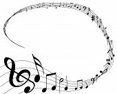 picture of musical note  - vector illustration of musical notes background on white - JPG