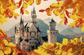 Amazing Neuschwanstein Castle. Under Sunlight With Hills On Background. And Natural Border With Colo poster
