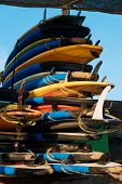 Many Single Fin Surfing Longboard With Surf Leash Ready For Rent. Set Of Multicolored Surf Boards In poster