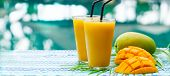 Fresh Tropical Fruit Smoothie Mango Juice And Fresh Mango On A Outdoor Tropical Background. Copy Spa poster