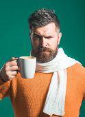 Coffee Shop. Serious Man In Sweater&scarf Enjoying Cup/mug Of Coffee/tea. Winter Or Autumn Season. B poster