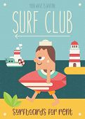 Surfing Poster. Funny Cartoon Surfer With Surfboard Walking Along Beach. Vector Illustration. Retro  poster