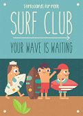 Surfing Poster. Funny Cartoon Surfers With Surfboard On Beach. Vector Illustration. Retro Design. Pl poster