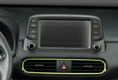Screen Multimedia System On Dashboard In A Modern Car poster