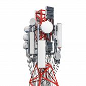 Mobile Tower With Cellular Phone Antennas, Antenna Tower. 3d Rendering Isolated On White Background poster
