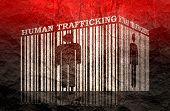 Barcode With Human Silhouette And Human Trafficking Text Within poster