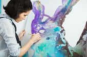 Concentrated Girl Focused On Creative Art-making Process In Art Therapy poster