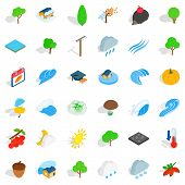 Natural Land Icons Set. Isometric Set Of 36 Natural Land Icons For Web Isolated On White Background poster