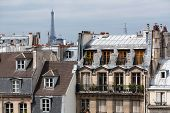 Classic Cityscape Of Paris Buidings With Eiffel Tower