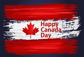 Happy Canada Day, July 1 Holiday Celebrate Card With Paint Brush Strokes. Patriotic Canadian Backgro poster