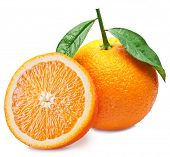 Orange fruit with orange slice and leaves isolated on white background. poster
