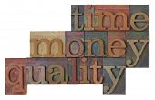 management strategy - time, money, quality words  in vintage wooden letterpress type blocks, stained