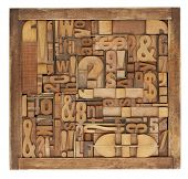 picture of symbol punctuation  - box of vintage wood printing blocks  - JPG
