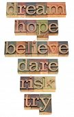 dream, hope, believe, dare, risk, try - a set of motivational and spiritual isolated words in vintag