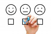 Client Leaving Average Rating With Blue Marker On Customer Feedback Evaluation Form. Drawn Faces Sur poster