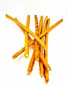Salty Sticks Golden Brown. All Sticks Isolated On White Background poster