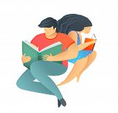 Modern Flat Style Girl And Boy Reading A Book, Studying Reading, Isolated. poster