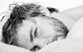 Man Unshaven Bearded Face Sleep Relax Or Just Wake Up. Guy Bearded Macho Relax In Morning. Total Rel poster