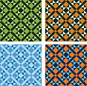 picture of ceramic tile  - vector geometric pattern in four color variations - JPG