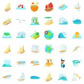 Salty Water Icons Set. Cartoon Set Of 36 Salty Water Icons For Web Isolated On White Background poster