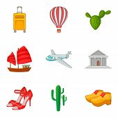 Single Journey Icons Set. Cartoon Set Of 9 Single Journey Icons For Web Isolated On White Background poster