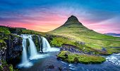 Picturesque landscape with Kirkjufellsfoss waterfall and Kirkjufell mountain, Iceland, Europe. poster