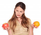 Businesswoman - Apple And Orange Choice