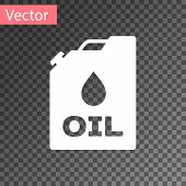 White Plastic Canister For Motor Machine Oil Icon Isolated On Transparent Background. Oil Gallon. Oi poster