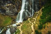 Waterfall In Nature. Waterfall In Mountain Nature. Mountain River Waterfall. Nature. Waterfall. Natu poster