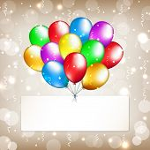 Party Background With Colorful Balloons And Label. Happy Birthday Golden Card With Place For Text. M poster