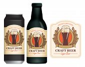 Vector Label For Craft Beer With A Overflowing Glass Of Frothy Beer, Coat Of Arms, Ears Of Wheat And poster